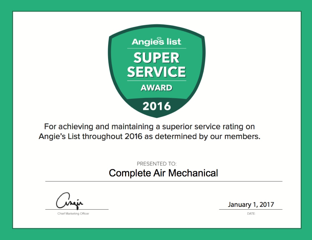 Complete Air Mechanical Angie's List Super Service Award
